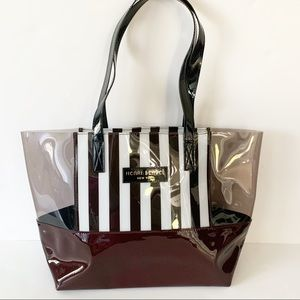 New!! Henri Bendel | Brown/White Stripe PVC Tote